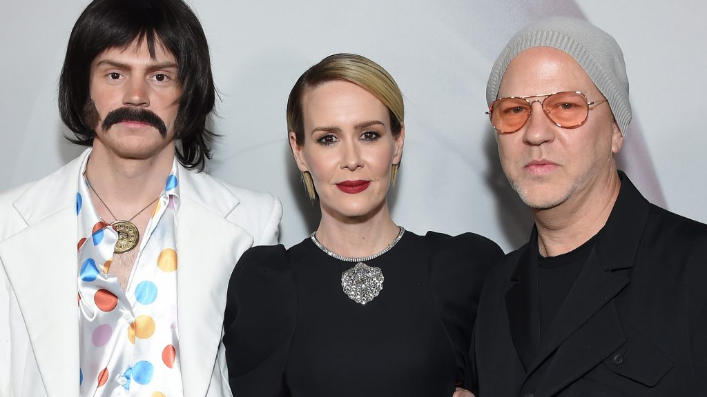 """Evan Peters, Sarah Paulson, and Ryan Murphy arrive for the Red Carpet event celebrating 100 episodes of FX's """"American Horror Story"""" at the Hollywood Forever Cemetary in Los Angeles on October 26, 2019."""
