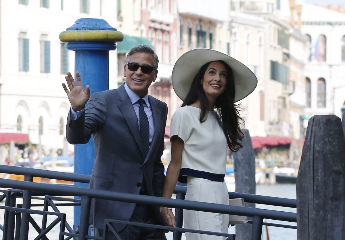 George Clooney and Amal Clooney attend a civil ceremony ahead of their Italian wedding
