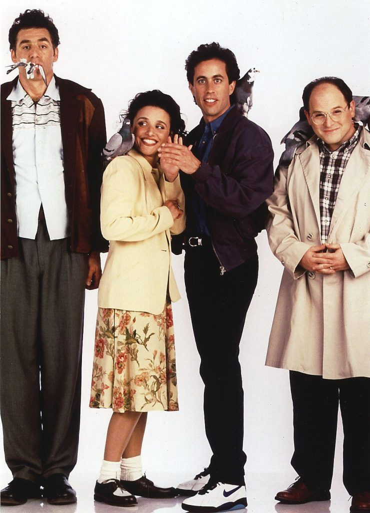 Julia Louis-Dreyfus, second from left, with the cast of 'Seinfeld'