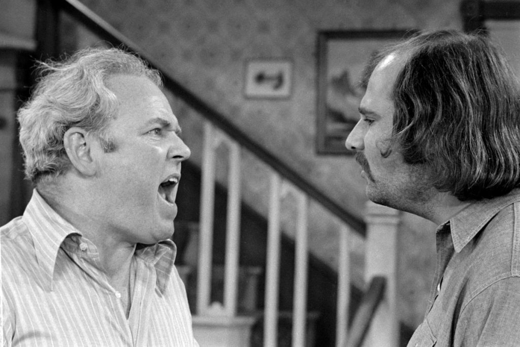 Rob Reiner (left) and Carroll O'Connor in a scene from 'All in the Family', 1972