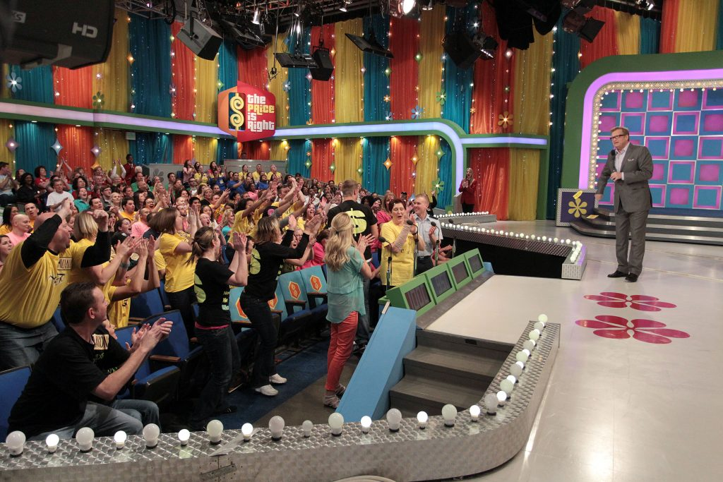 Drew Carey speaking to the studio audience on 'The Price Is Right'