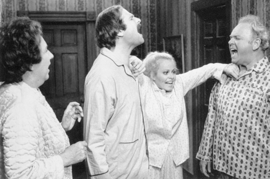 Rob Reiner (second from left) in a scene from 'All in the Family', 1978