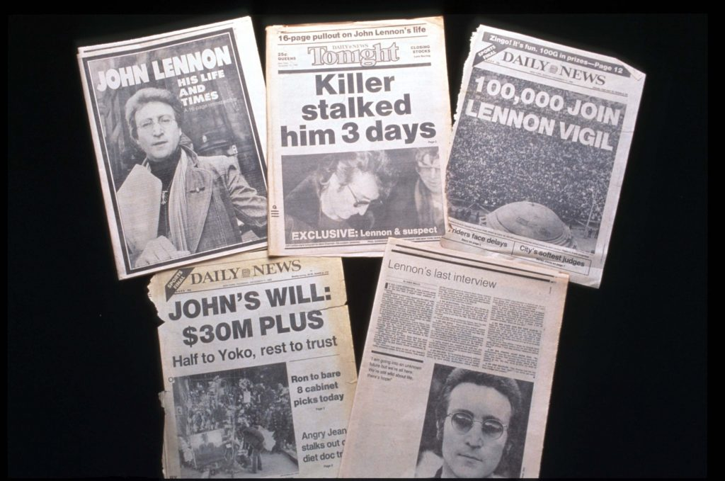 Newspapers announcing the death of former Beatle John Lennon, December 1980
