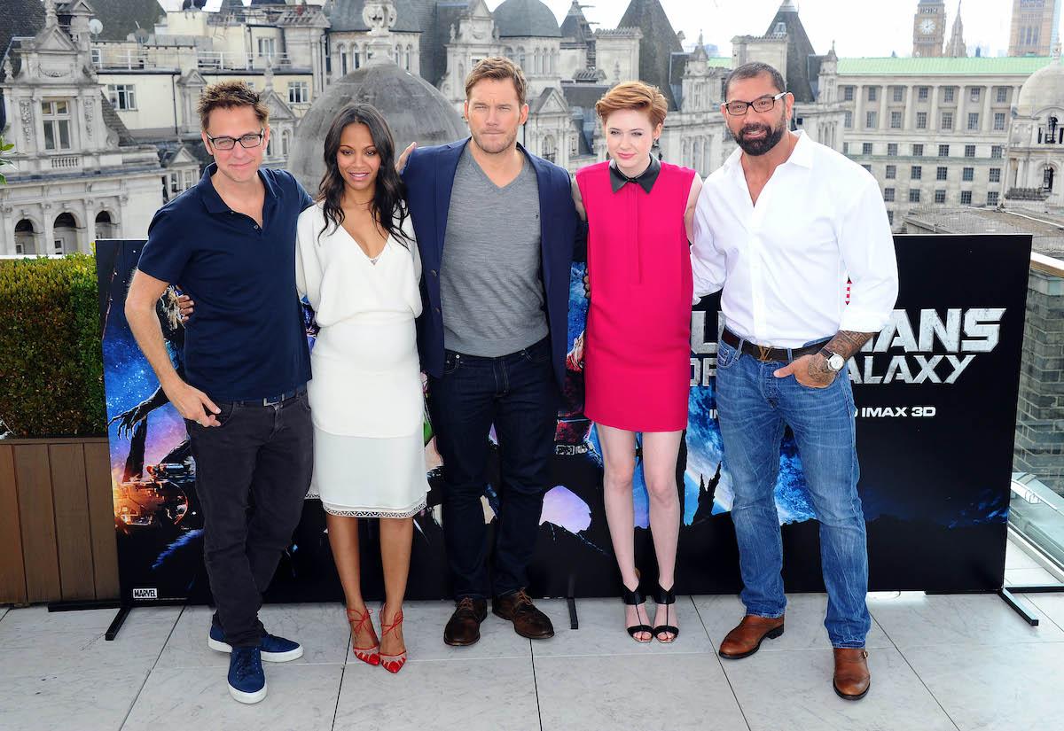 James Gunn, Zoe Saldana, Chris Pratt, Karen Gillan, and David Bautista