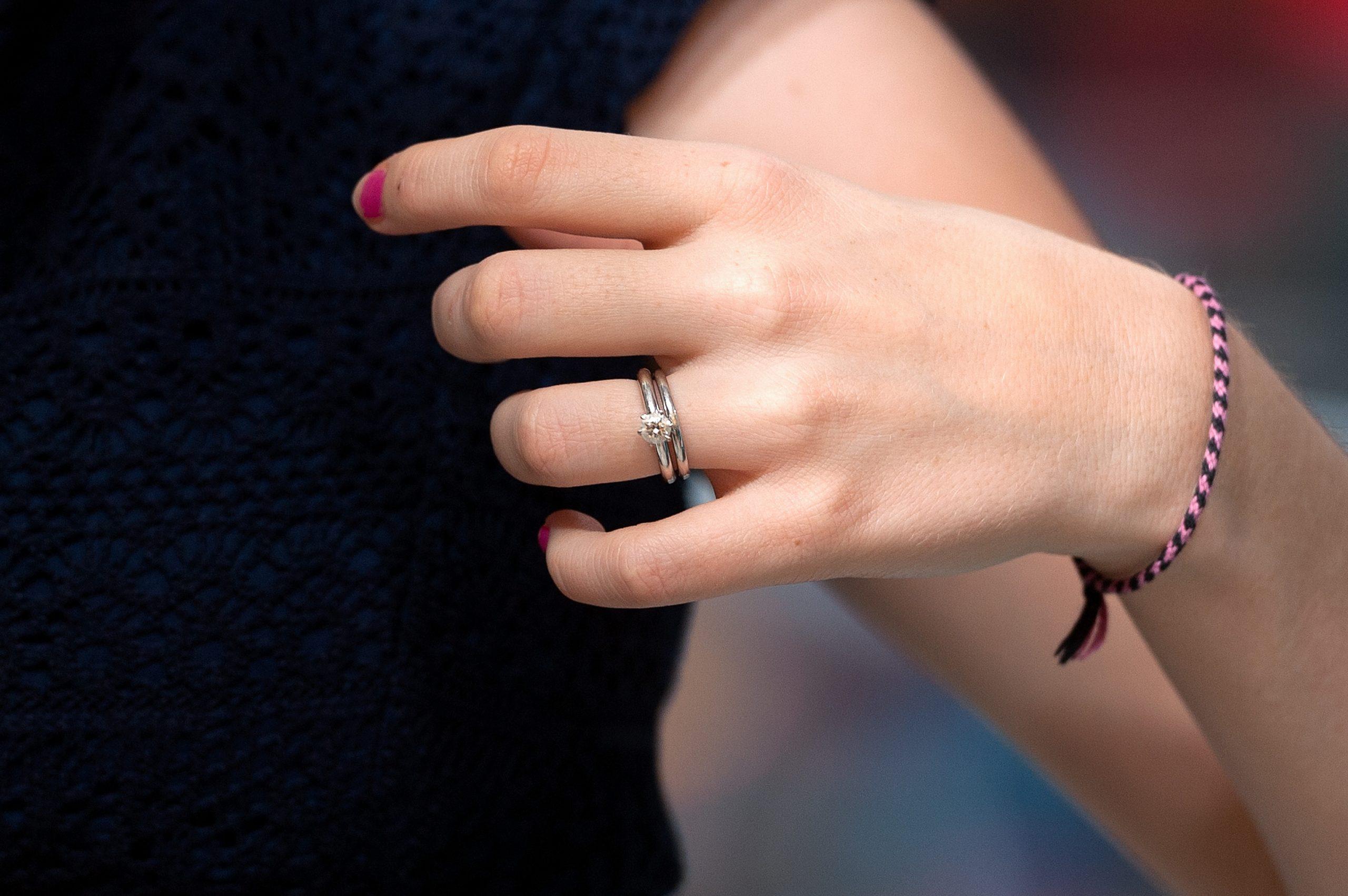 A closeup of Jill Duggar's engagement ring