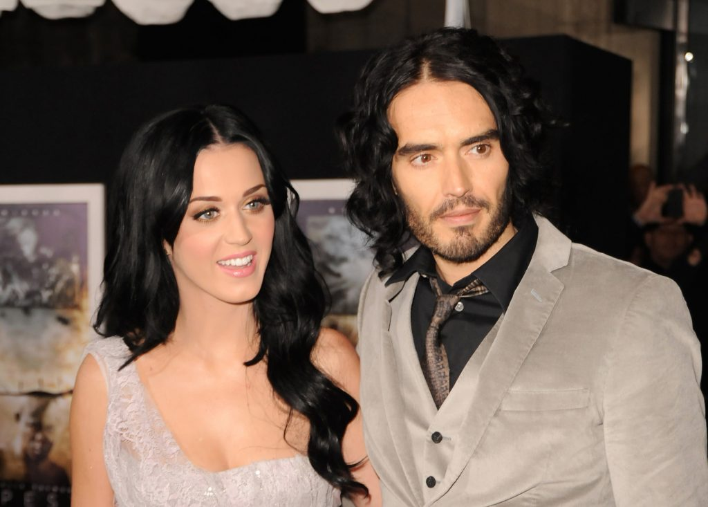 Katy Perry and comedian Russell Brand arrive at the Los Angeles premiere of 'The Tempest'