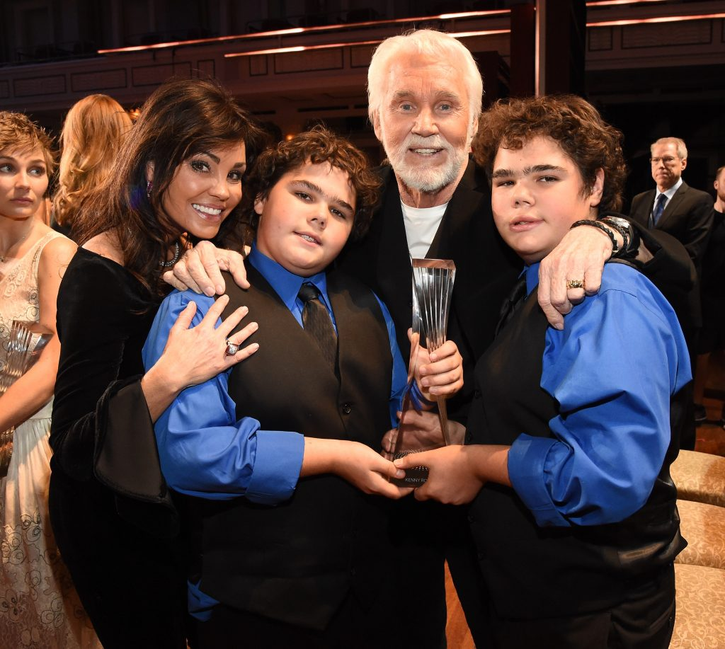 Wanda Miller, Kenny Rogers, and their sons    Rick Diamond/Getty Images for CMT