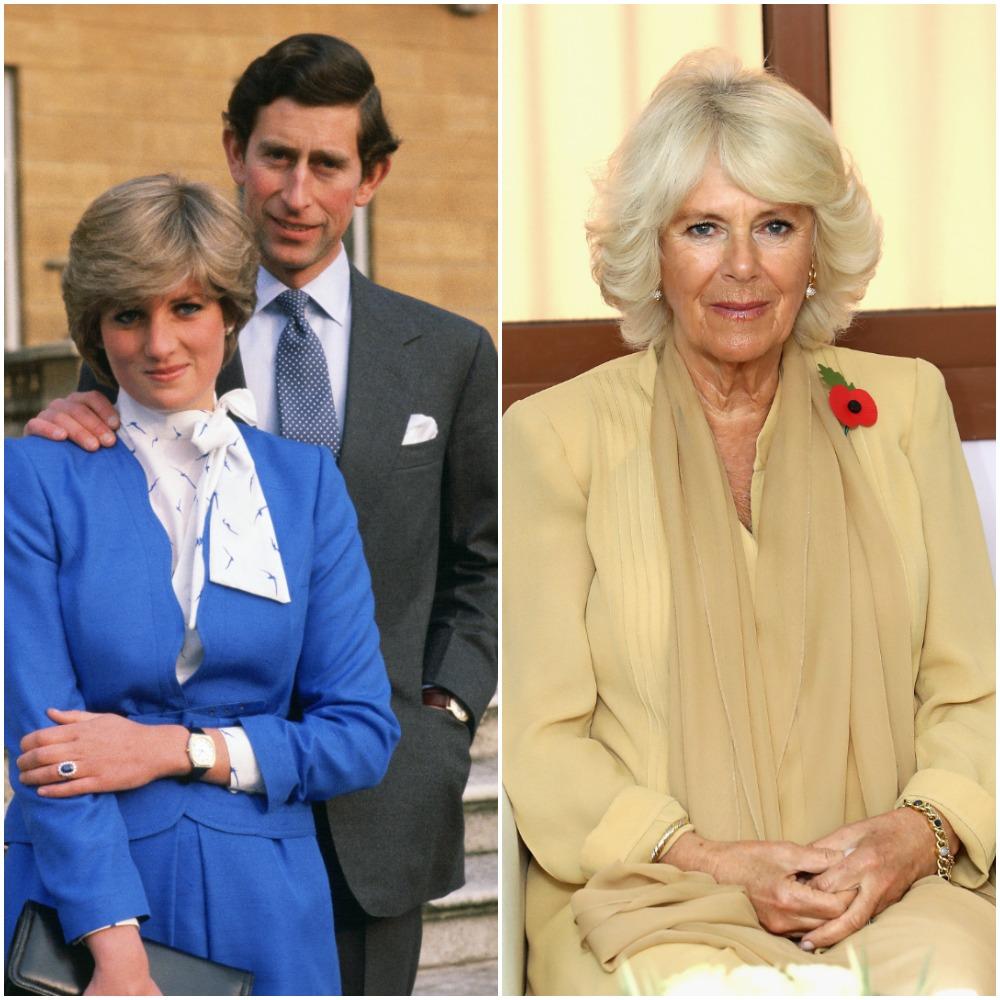 (L) Princess Diana and Prince Charles, (R) Camilla Parker Bowles