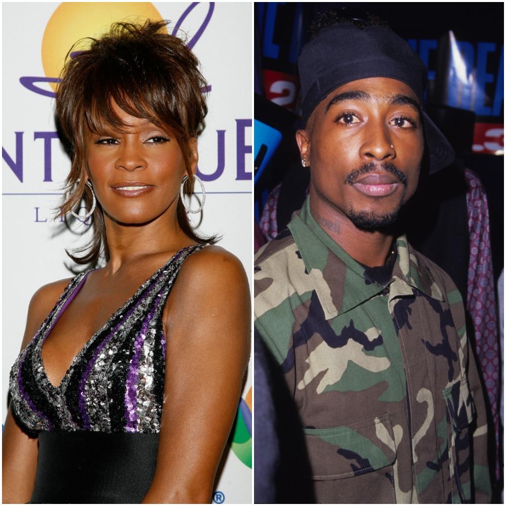 (L) Whitney Houston, (R) Tupac Shakur