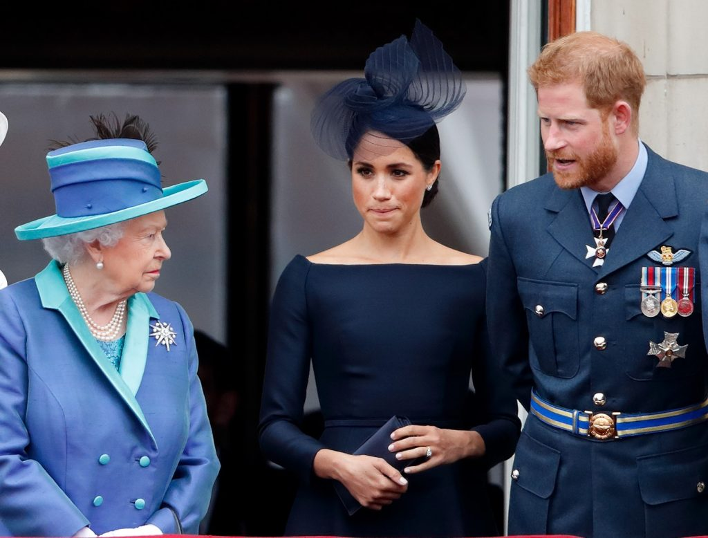 (L to R) Queen Elizabeth II, Meghan Markle, and Prince Harry