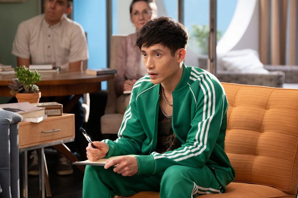 Manny Jacinto in character on The Good Place