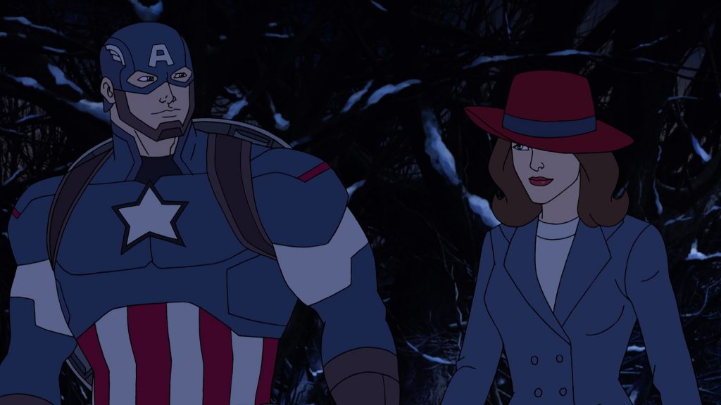 Animated images of Captain America and Peggy Carter