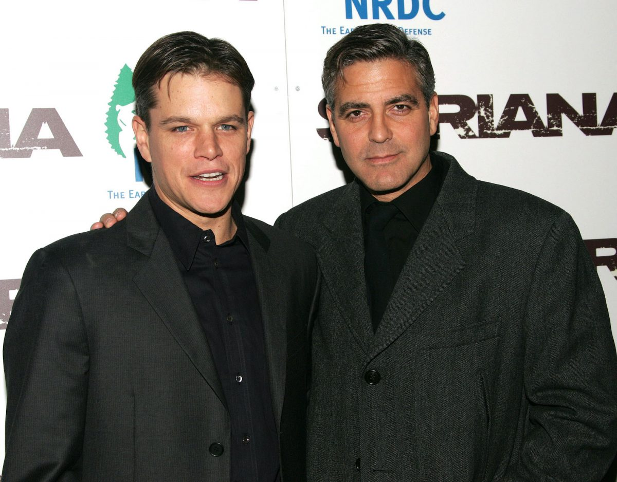 Matt Damon and George Clooney at the premiere of 'Syriana'