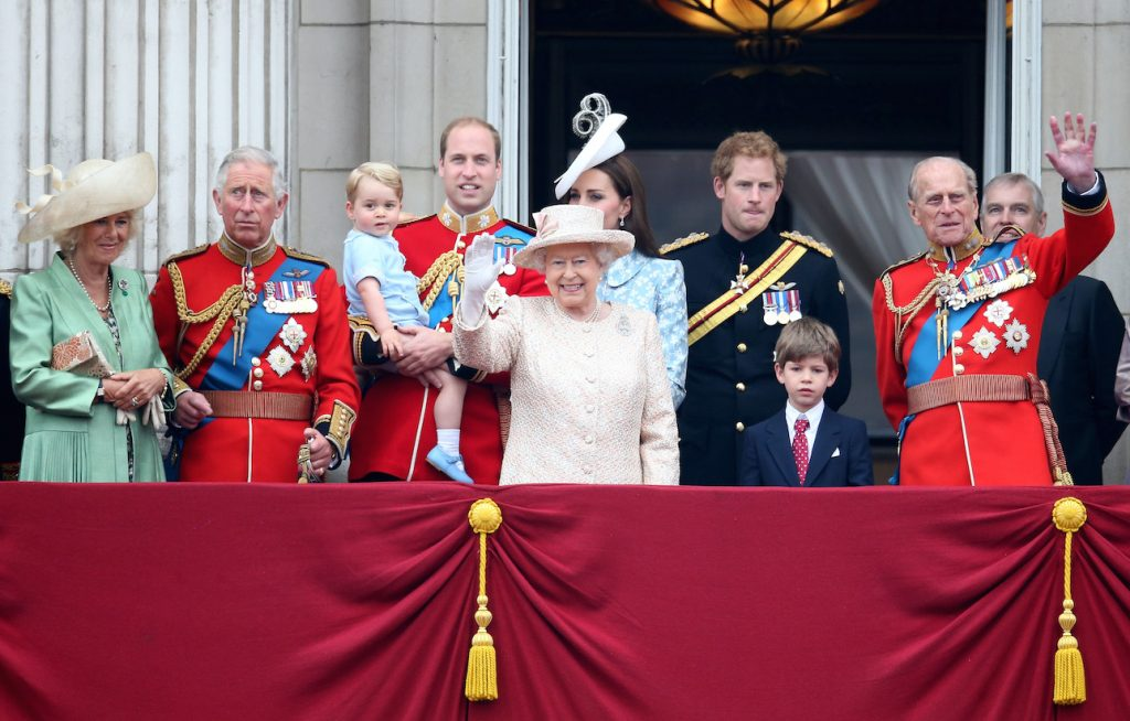 Members of the British royal family at the 2015 Trooping the Colour