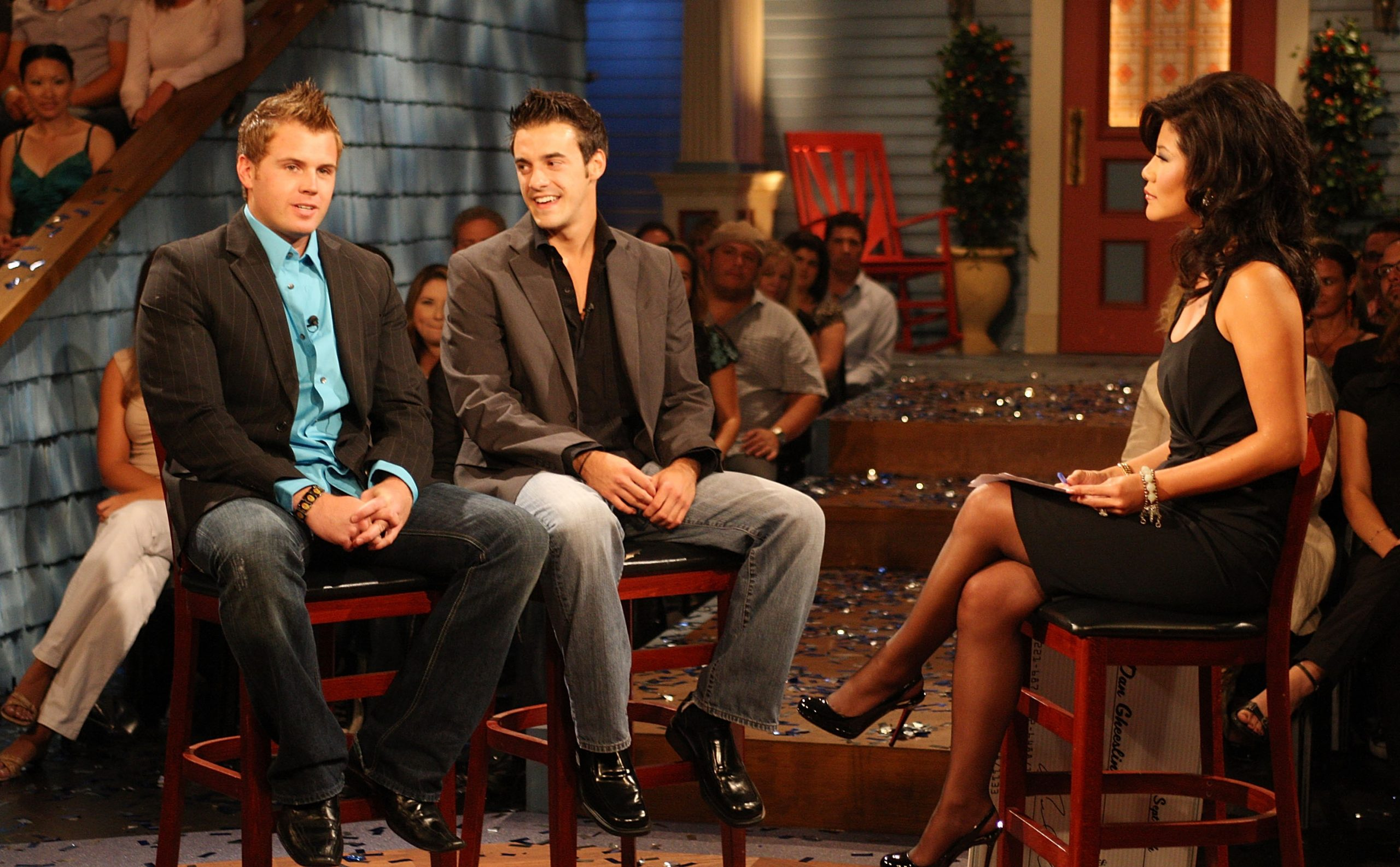 Second place contestant Memphis Garrett,  Dan Gheesling, the winner of the Big Brother Season 10 Grand Finale and host Julie Chen