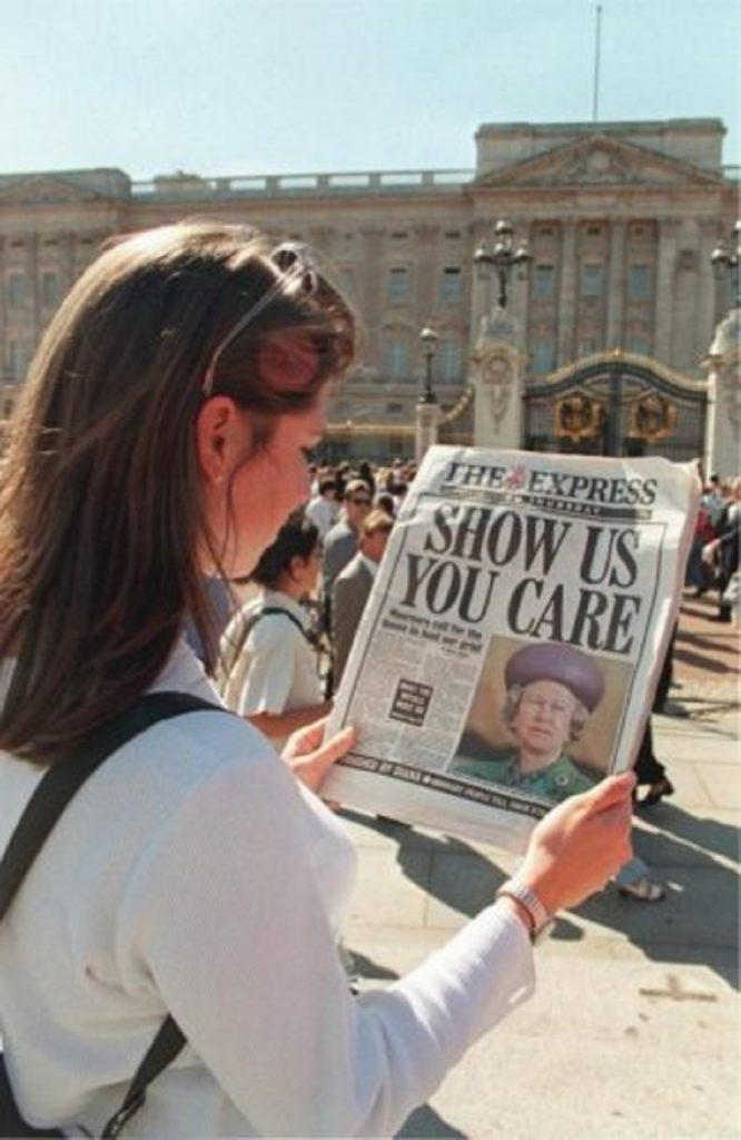 Newspaper criticizing the British Queen's silence Princess Diana's death