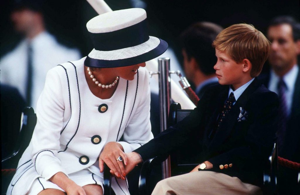 Princess Diana Holding Prince Harry's Hand Whilst Watching The Parade Of Veterans On  V J Day, The Mall, London