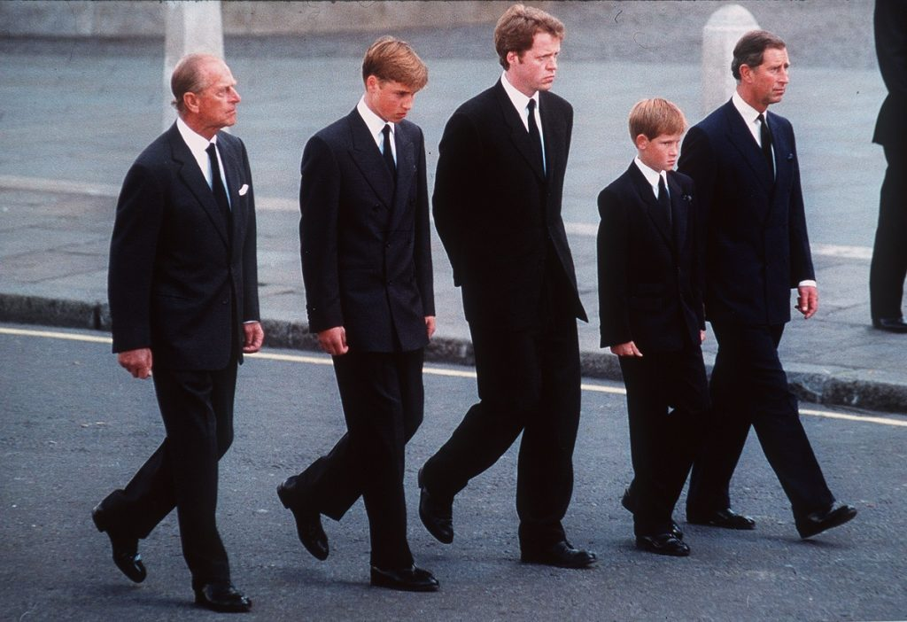 Prince Philip, Prince William, Earl Spencer, Prince Harry, and Prince Charles