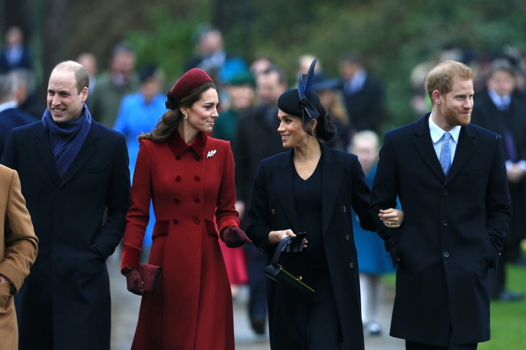 Prince William, Kate Middleton, Meghan Markle, and Prince Harry arrive for Christmas Day church service, 2018