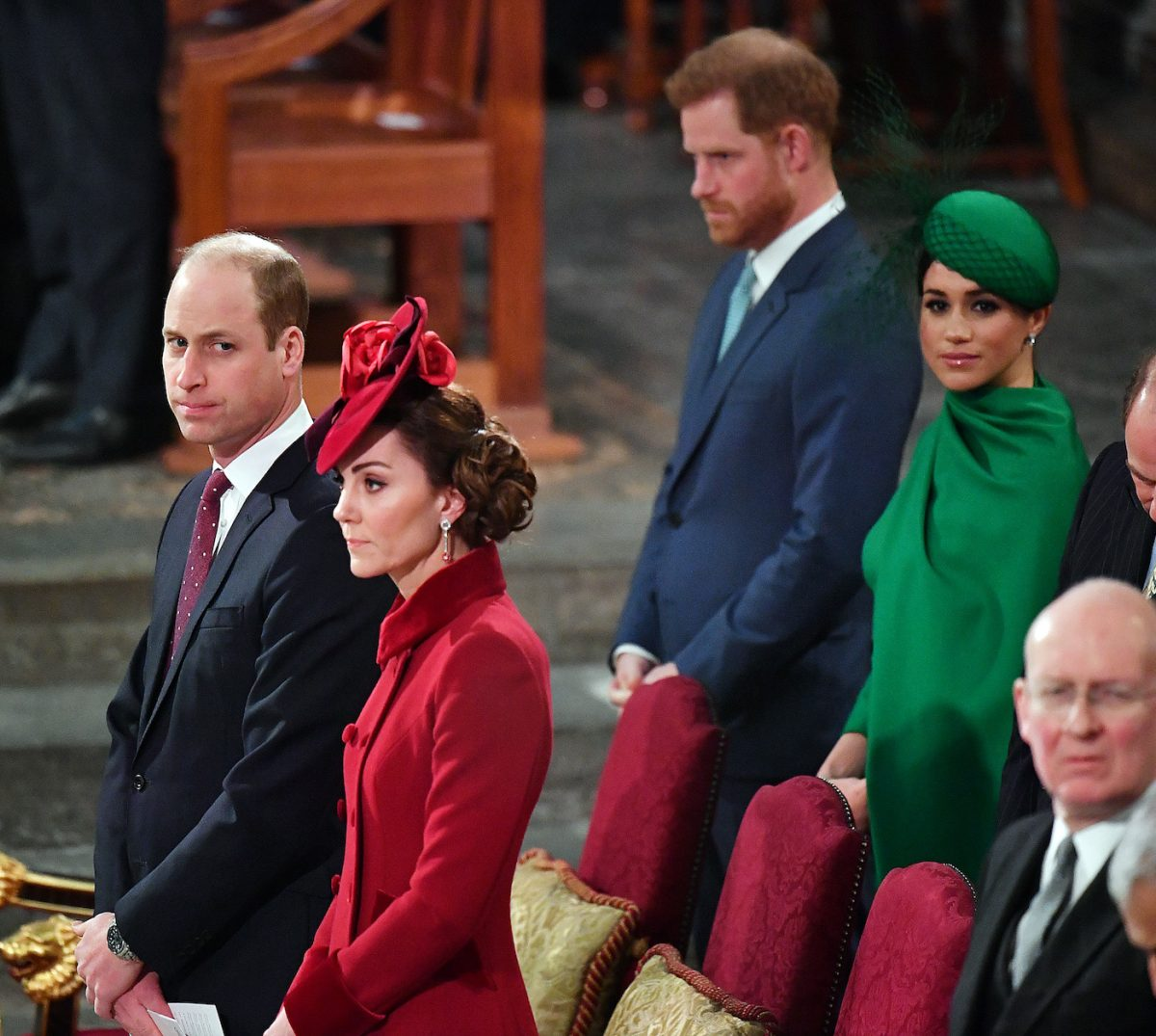 Prince William, Kate Middleton, Prince Harry, and Meghan Markle at 2020 Commonwealth Day Service