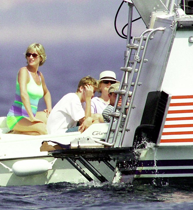 Princess Diana, Prince William, and others of Fayed's yacht