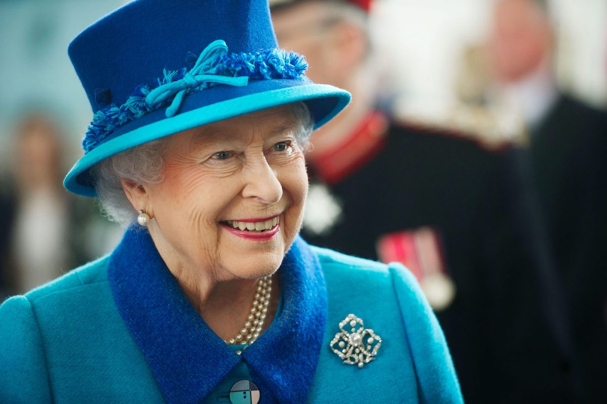 Queen Elizabeth II smiles during a visit to Wales
