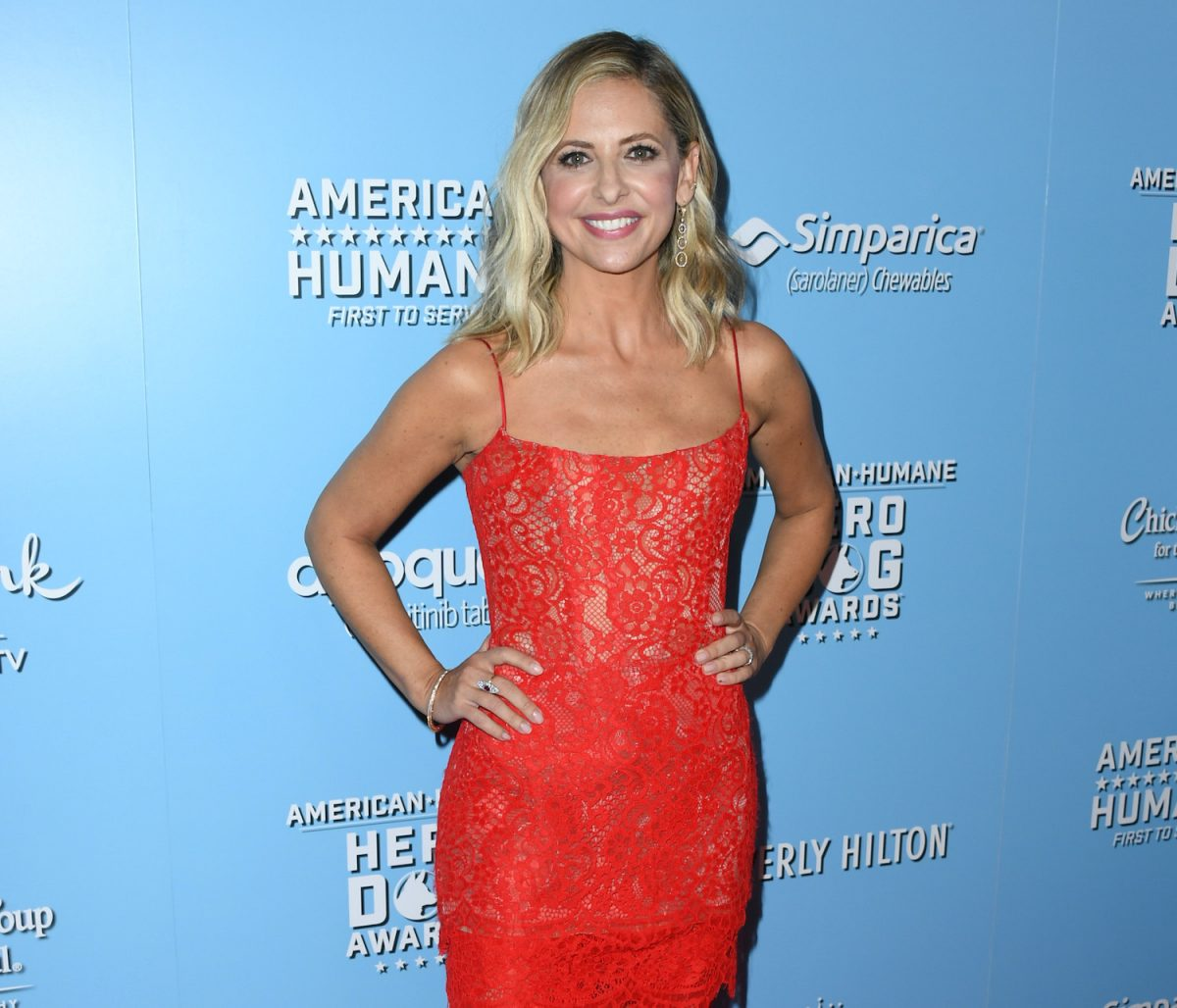 Sarah Michelle Gellar poses for cameras while attending the American Humane Hero Dog Awards in 2019