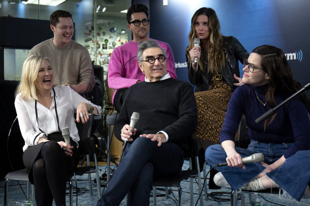 Eugene Levy, Noah Reid, Annie Murphy, Catherine O'Hara, Daniel Levy and Emily Hampshire