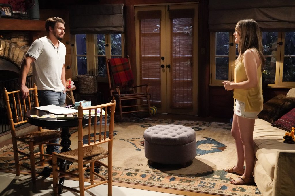 Scott Clifton and Annika Noelle practice social distancing while filming 'The Bold and the Beautiful'