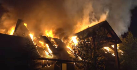 Fire destroyed the roof and top floor of Rachael Ray's upstate New York home