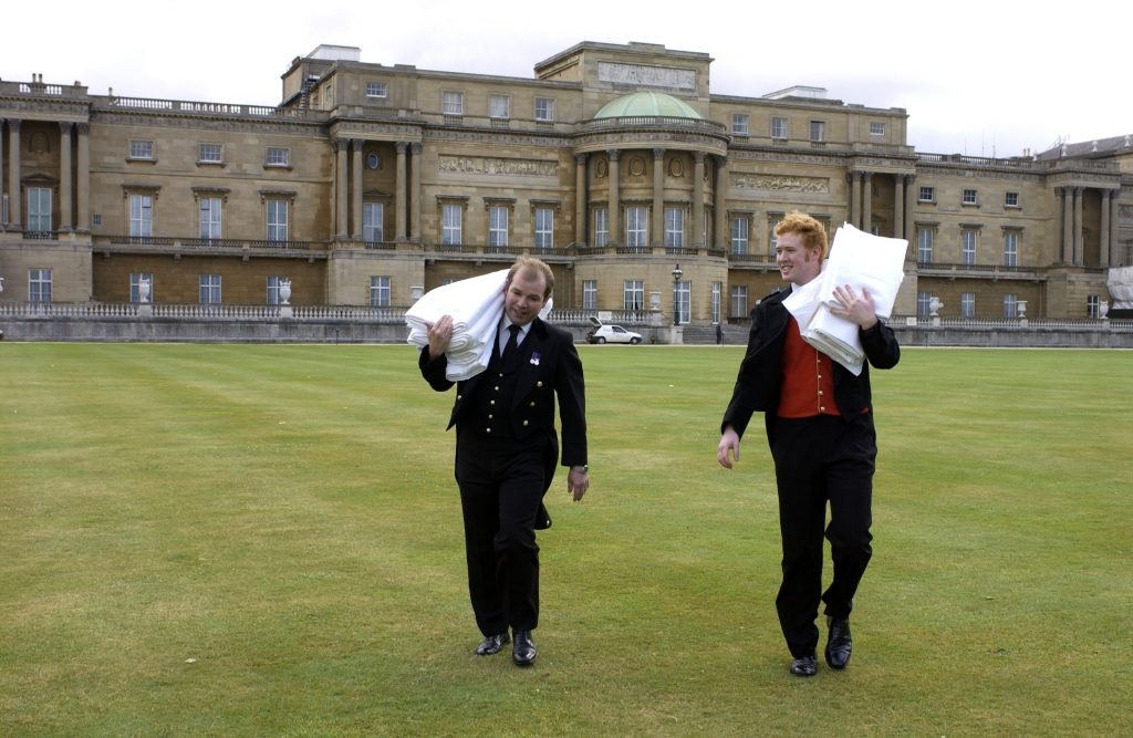 Staffers preparing for party on grounds of Buckingham Palace