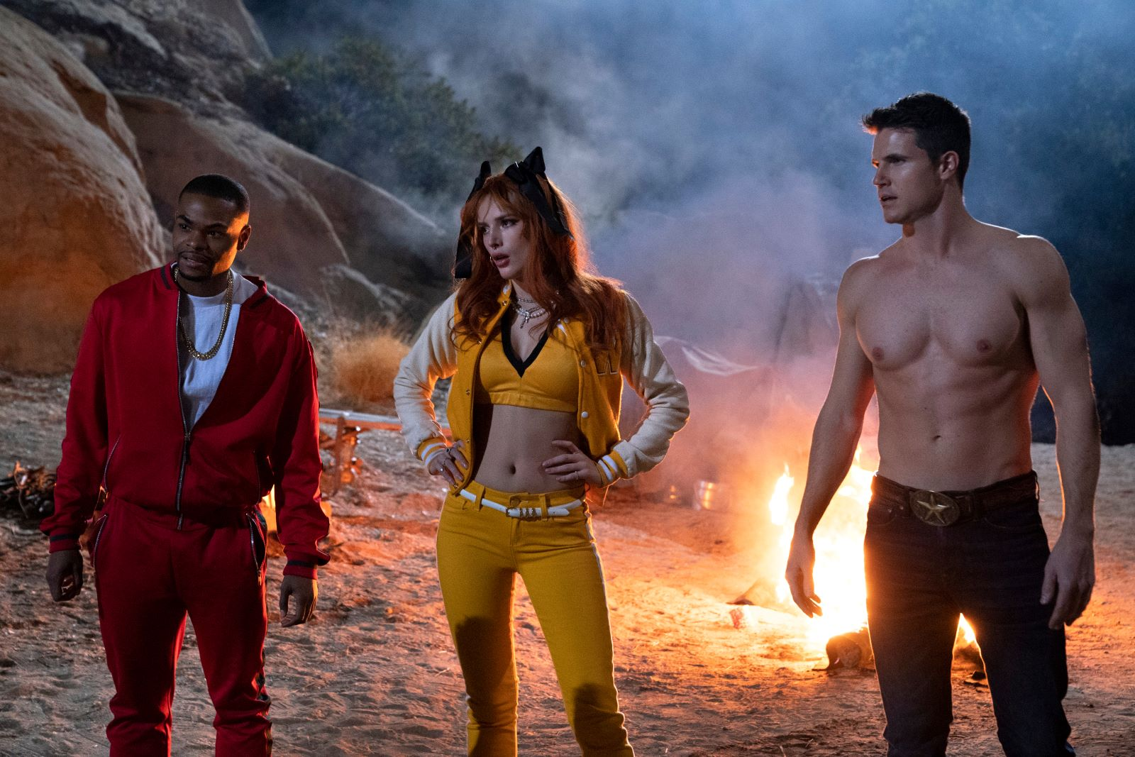 'The Babysitter: Killer Queen' (L To R) Andrew Bachelor, Bella Thorne, and Robbie Amell
