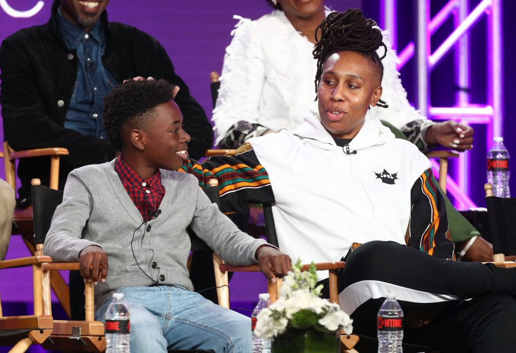 Alex Hibbert (L) and creator/executive producer and writer Lena Waithe of the television show 'The Chi' speak onstage during the CBS Showtime portion of the 2018 Winter Television Critics Association Press Tour