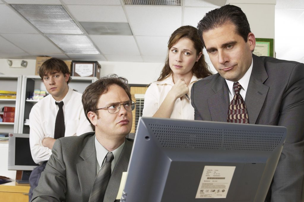 John Krasinski as Jim Halpert, Rainn Wilson as Dwight Schrute, Jenna Fischer as Pam Beesly, and Steve Carell as Michael Scott