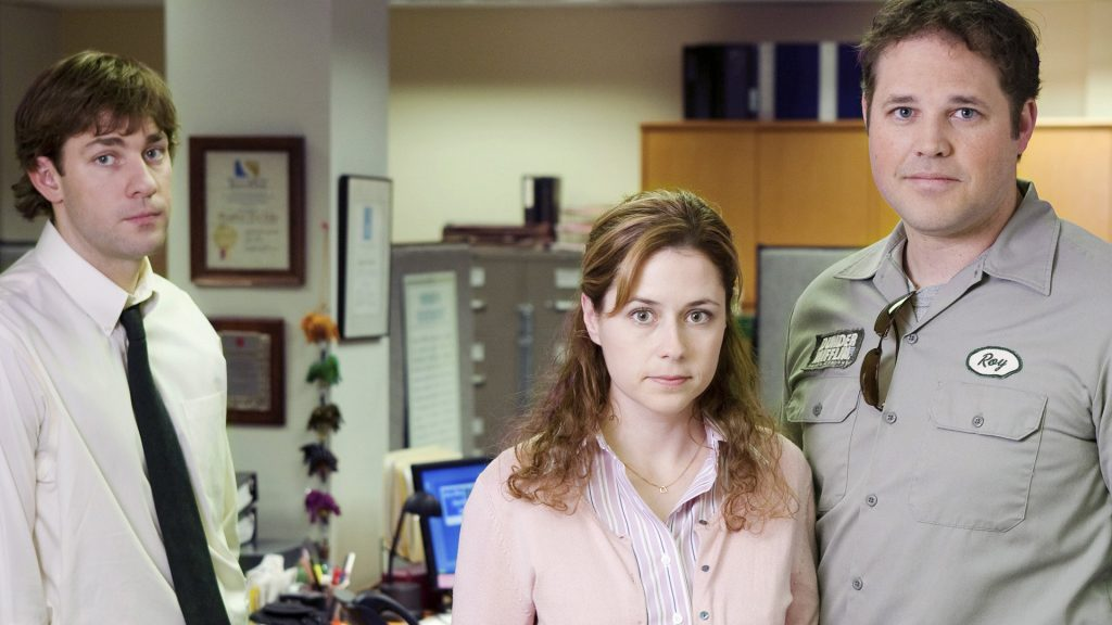 John Krasinski as Jim Halpert, Jenna Fischer as Pam Beesly, and David Denman as Roy Anderson on 'The Office' in 2006