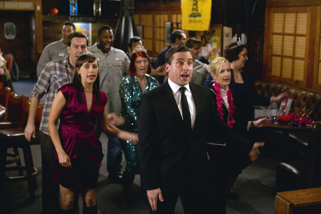 Ed Helms as Andy Bernard, Rashida Jones as Karen Filippelli, Kate Flannery as Meredith Palmer, Steve Carell as Michael Scott, Angela Kinsey as Angela Martin, Phyllis Smith as Phyllis Lapin on 'The Office'