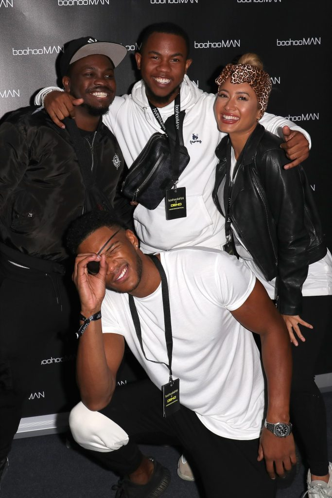Theo Campbell, Sideman, and Kaz Crossley attending the boohooMAN x DENO Launch Party