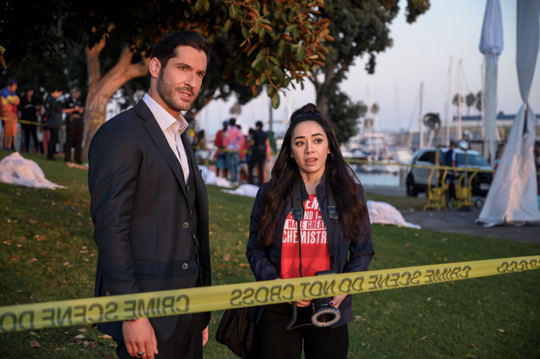 Tom Ellis and Aimee Garcia in 'Lucifer' Season 5, Episode 6