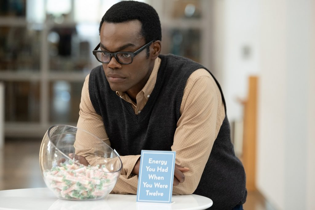 William Jackson Harper on set of The Good Place