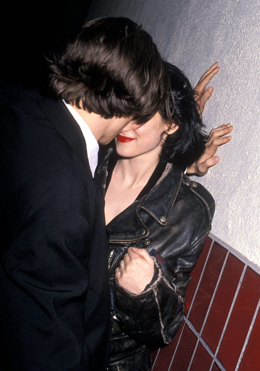 Johnny Depp and Winona Ryder about to kiss