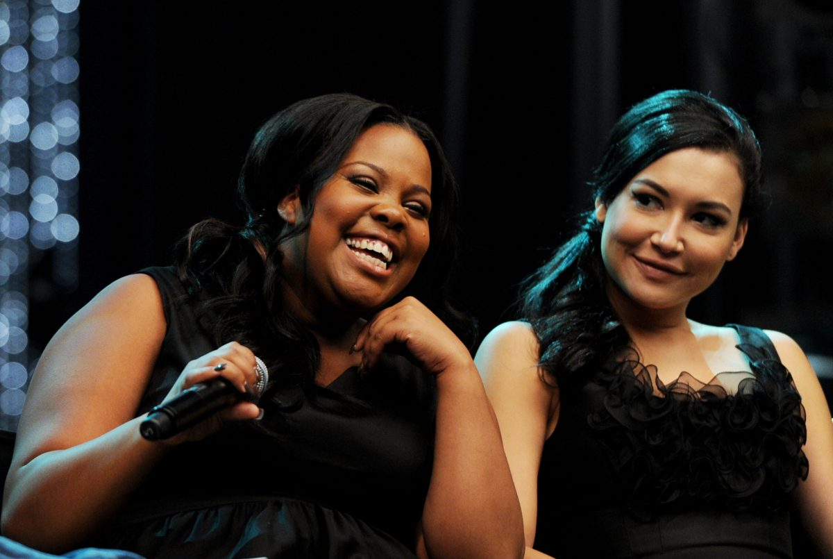 Amber Riley (L) and Naya Rivera appear at the 'Glee' 300th musical performance special taping on October 26, 2011