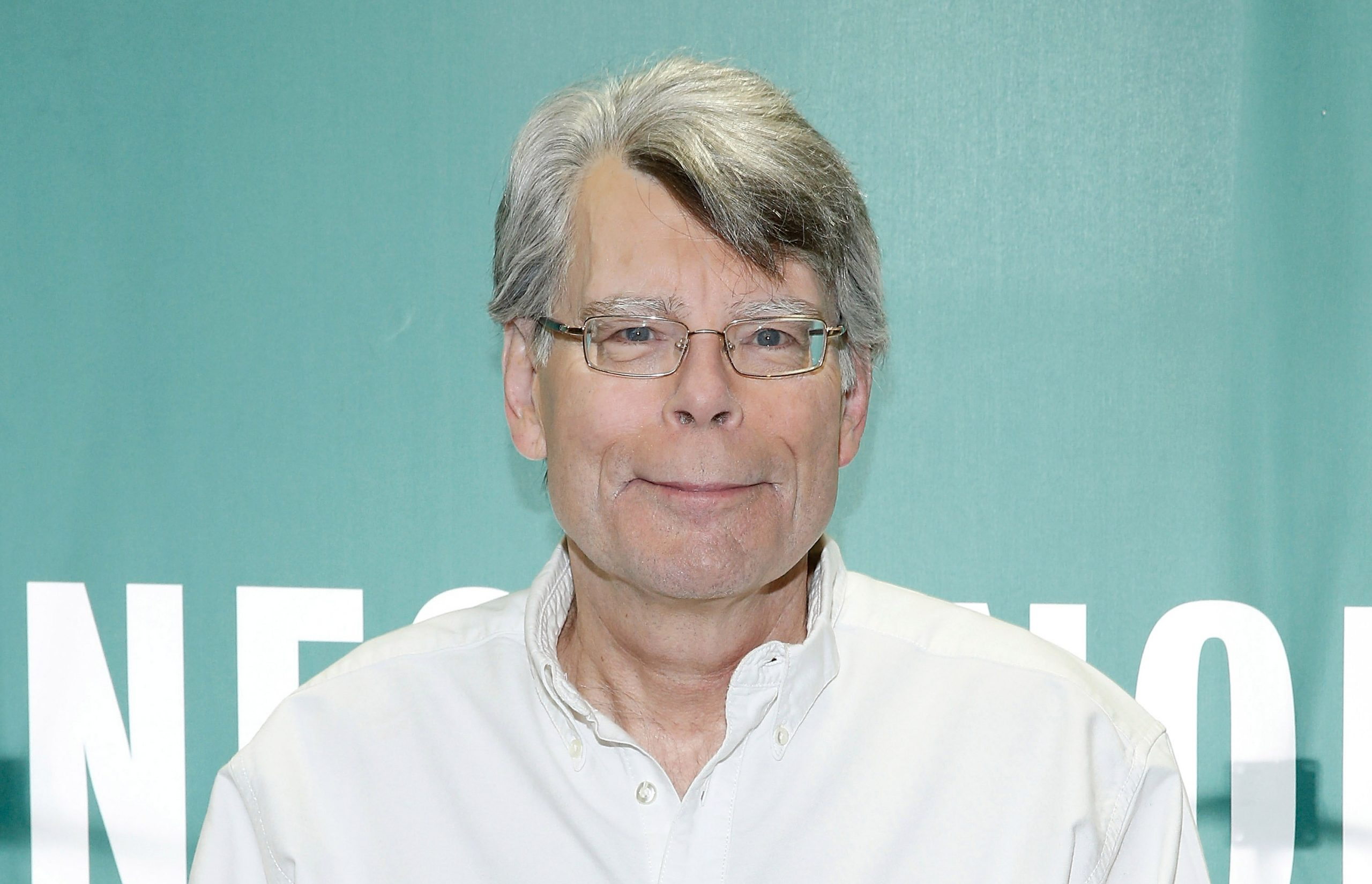 Stephen King in a white shirt