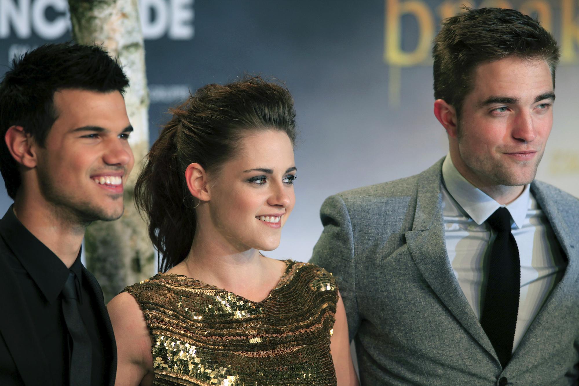 Taylor Lautner, Kristen Stewart, and Robert Pattinson at the German premiere of 'The Twilight Saga: Breaking Dawn - Part 2' on Nov. 16, 2012.