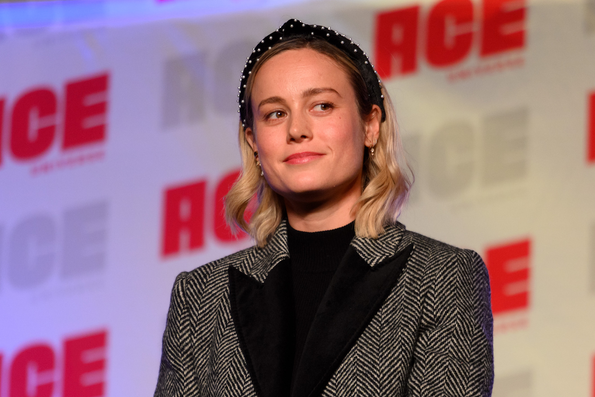 Brie Larson at ACE Comic Con Midwest on October 12, 2019 in Rosemont, Illinois.