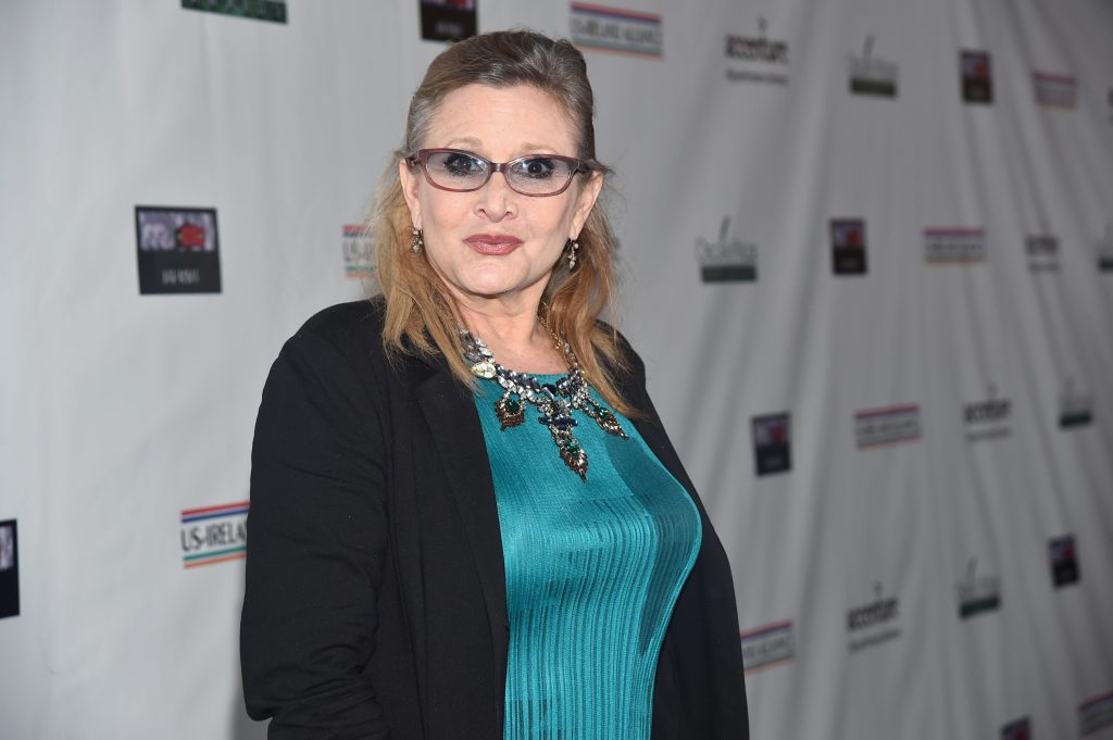 Carrie Fisher wearing glasses