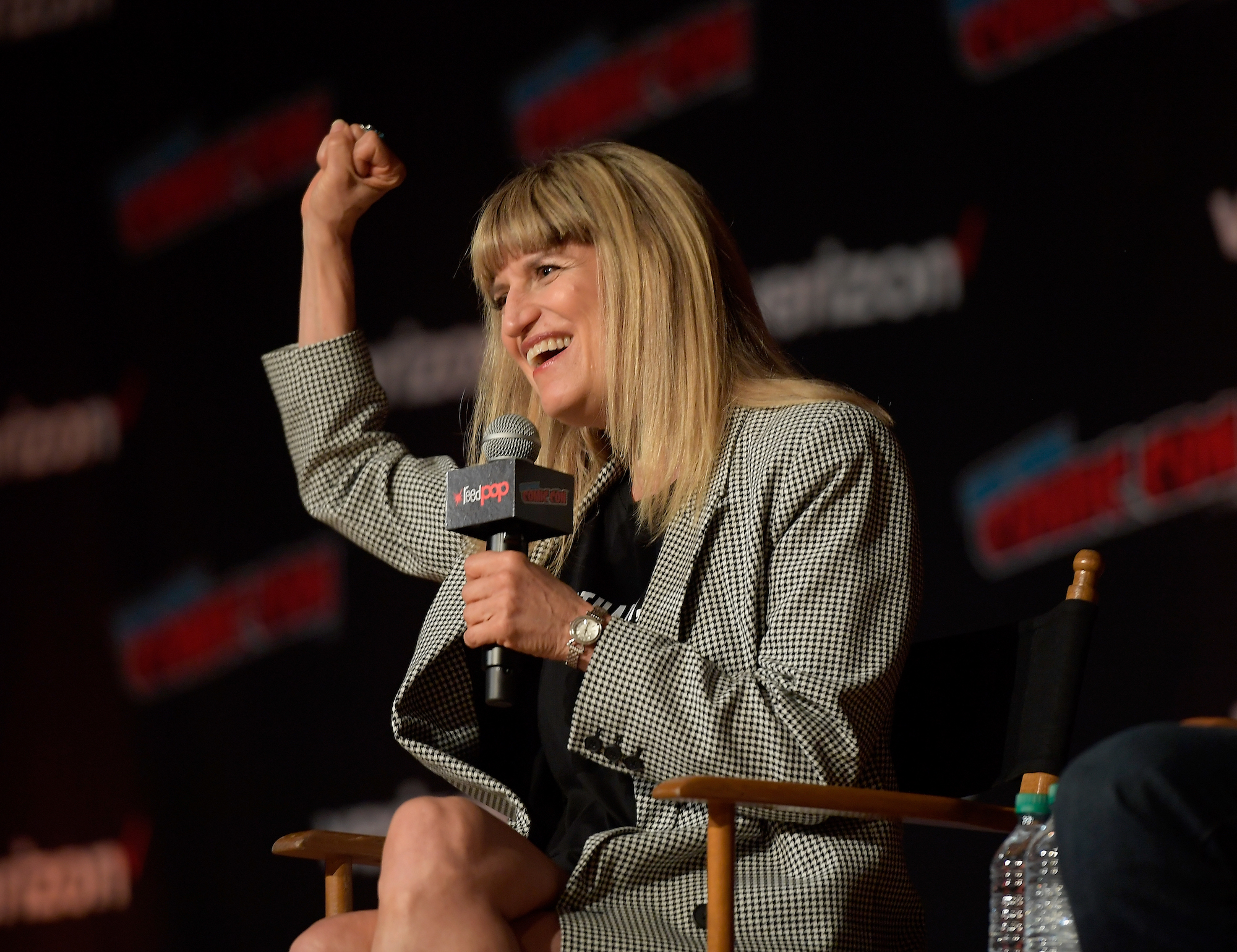 Catherine Hardwicke speaks onstage at the 'Twilight' 10th Anniversary panel during 2018 New York Comic Con on Oct. 7, 2018.