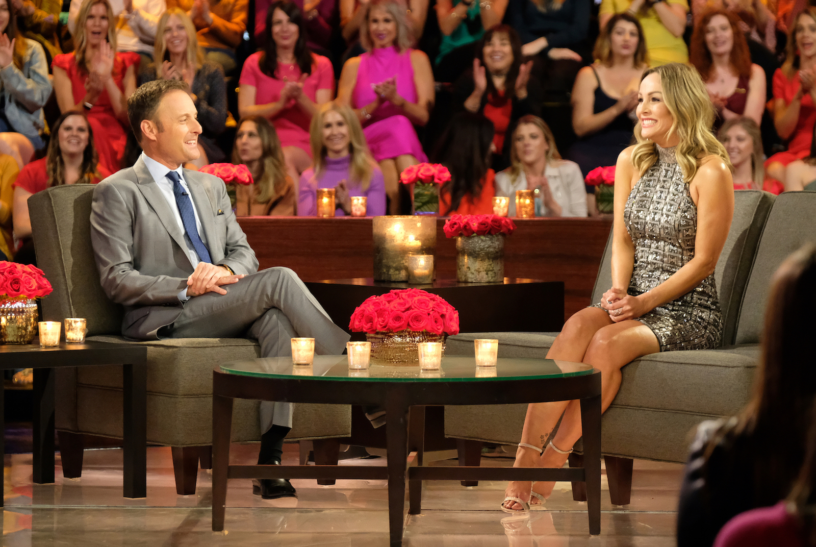 Chris Harrison and Clare Crawley as she's announced as the newest Bachelorette