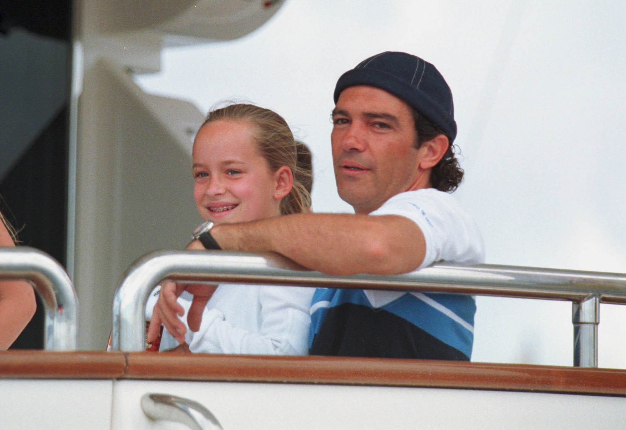 Antonio Banderas with Dakota Johnson on a yacht during the Copa del Ray regatta, August 06, 2000.