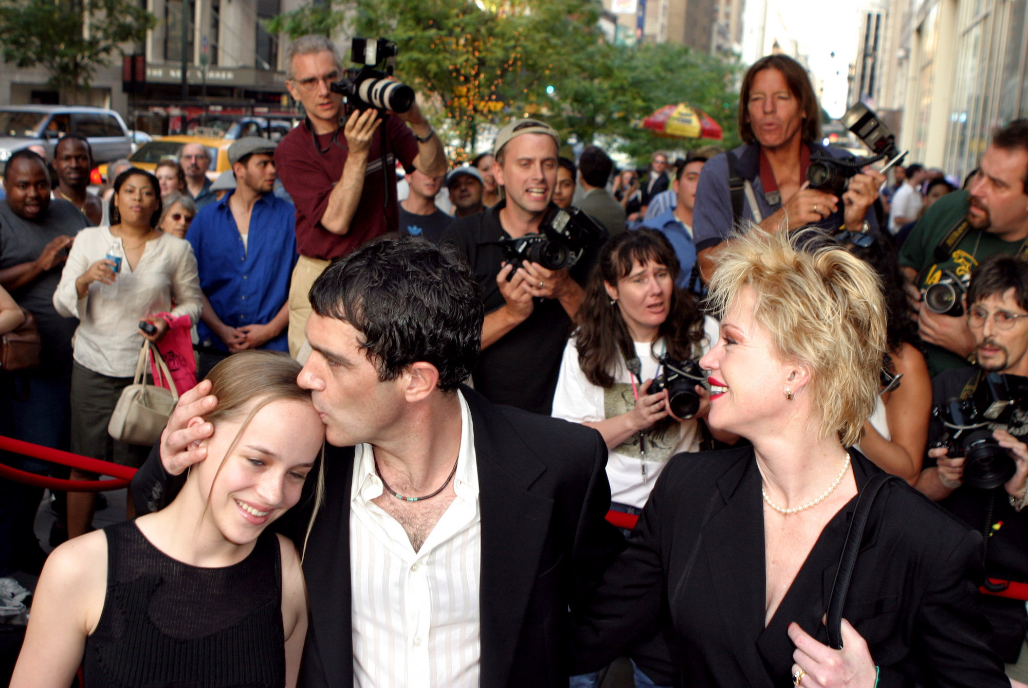 Dakota Johnson, Antonio Banderas and Melanie Griffith at the 'And Starring Pancho Villa As Himself' New York Premiere on Aug. 18, 2003.