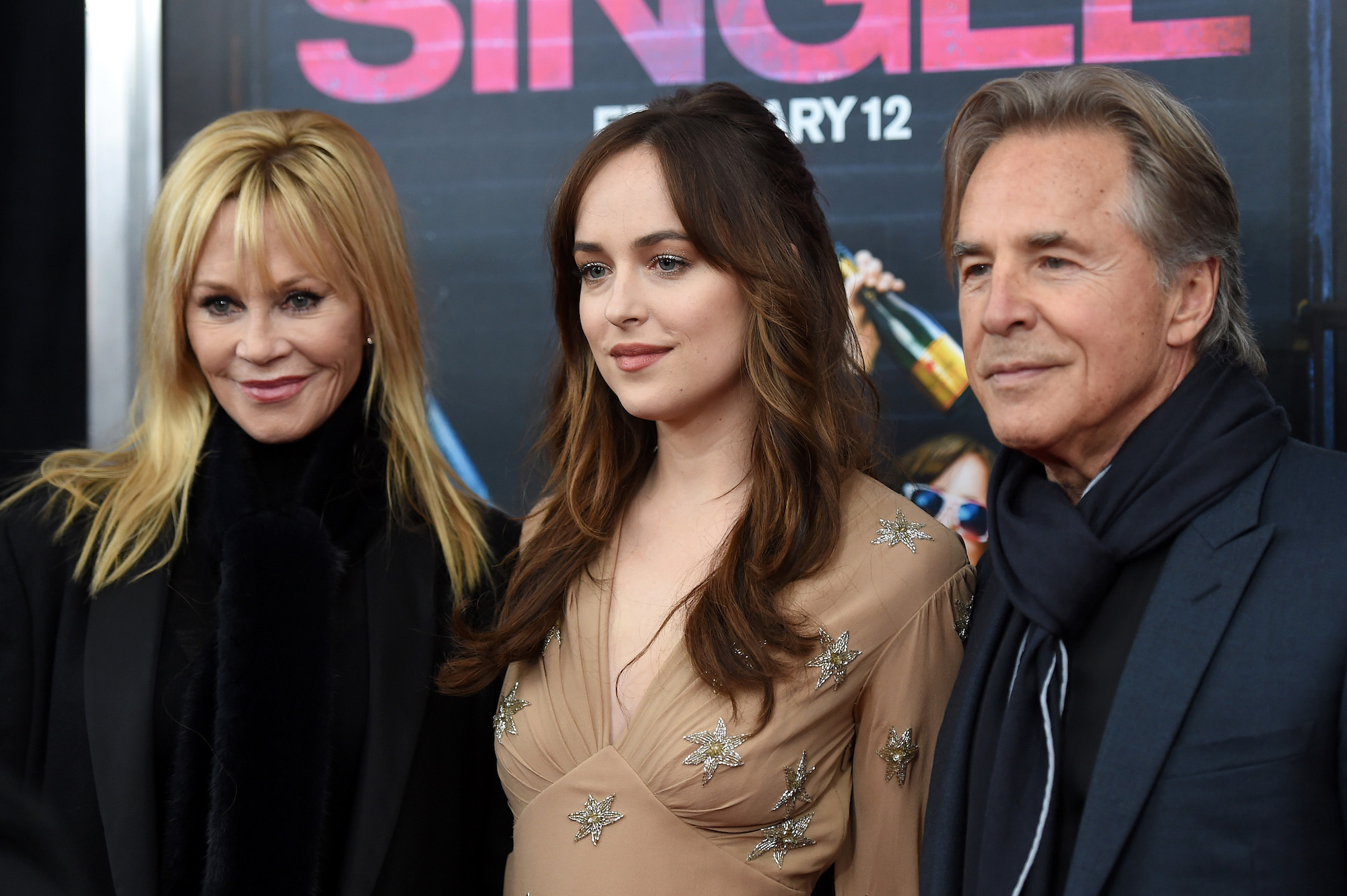 Melanie Griffith, Dakota Johnson, and Don Johnson at the New York premiere of 'How To Be Single' at the NYU Skirball Center on February 3, 2016.